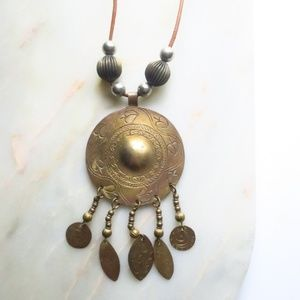 Anthropologie Pendant Necklace Brass